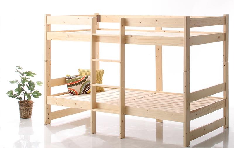 コンパクト天然木2段ベッド Jeffy ジェフィ ベッドフレームのみ AL完売しました。 オンラインショッピング 送料無料 ショート丈 シングル 500043082