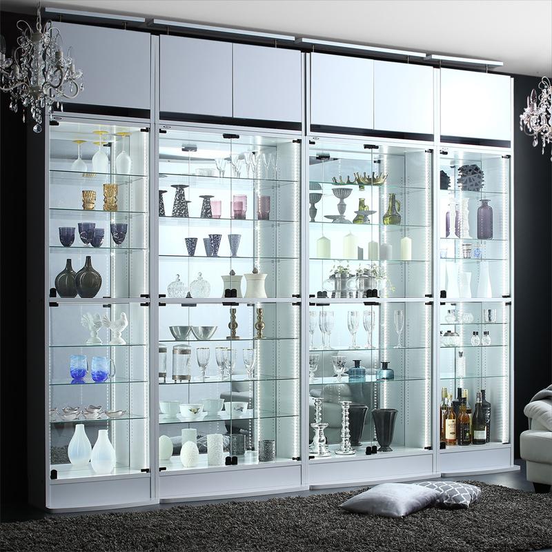 背面ミラー付き壁面コレクション収納 本体 上置きハイタイプ付き 幅83.1 高さ241~274 (送料無料) 500043604