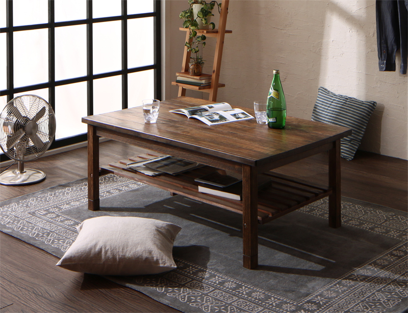 天然木の古木風ヴィンテージデザインこたつテーブル Vinbaum ヴィンバーム 4尺長方形(75×120cm) (送料無料) 500043843