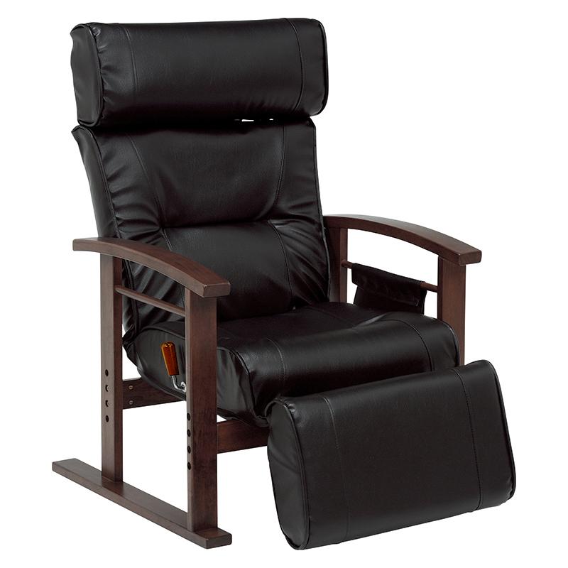 送料無料 リクライニング高座椅子 ヘッドレスト、足置き 書斎 チェア 大人向けデザイン ブラック 高さ調整 高級感 肘掛け【LZ-4758BK】