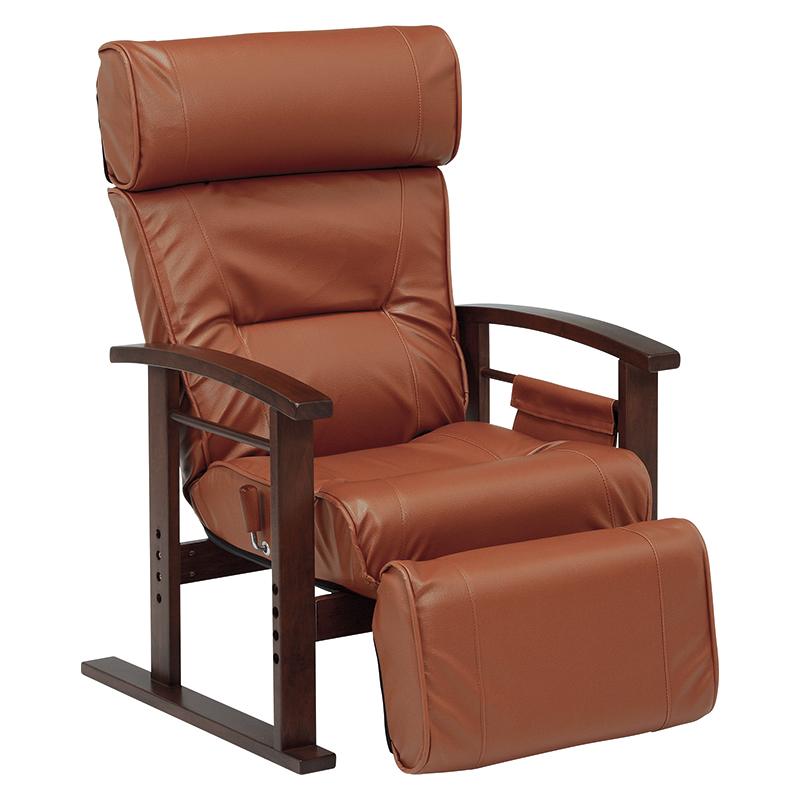 送料無料 リクライニング高座椅子 ヘッドレスト、足置き ブラウン 高さ調整 大人向けデザイン 肘掛け 書斎 高級感 チェア【LZ-4758BR】