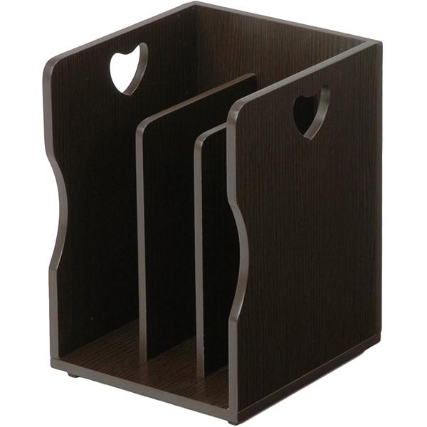 送料無料 4個セット ブックスタンド 木製 卓上 A4サイズ 本棚 シェルフ マガジンラック 本立て ダークブラウン MM-7205DBR
