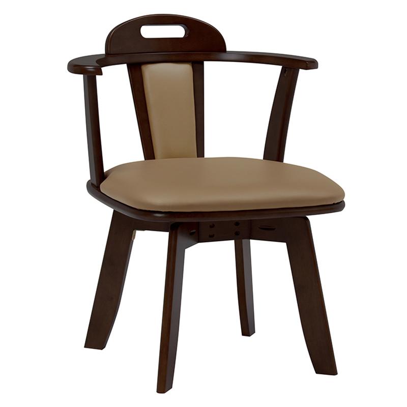 送料無料 ダイニングチェア 回転 2脚組 回転ダイニングチェアー 2脚セット 回転チェアー おしゃれ 木製 合成皮革 椅子 チェア イス チェアー ダークブラウン KC-7585DBR