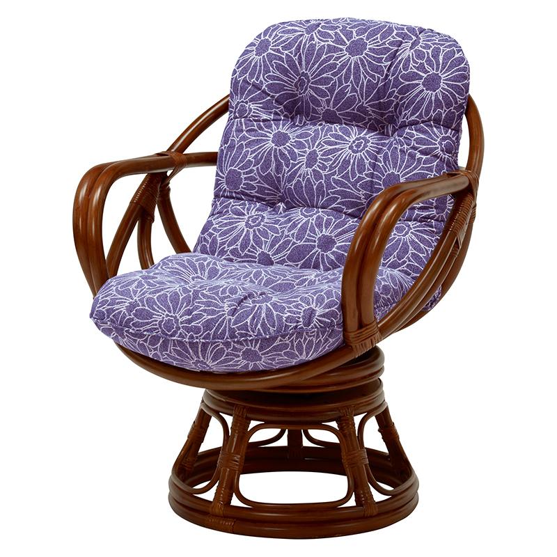 送料無料 回転座椅子 肘付き 回転椅子 回転チェア リラックスチェアー 籐チェアー 1人 おしゃれ 木製 椅子 チェア イス チェアー 座面高38cm RR-874