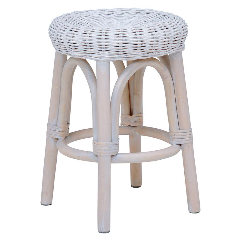 送料無料 4個セット 籐椅子 スツール 円形 丸形 椅子 木製 おしゃれ いす イス ラタン ホワイトウォッシュ RH-985WS