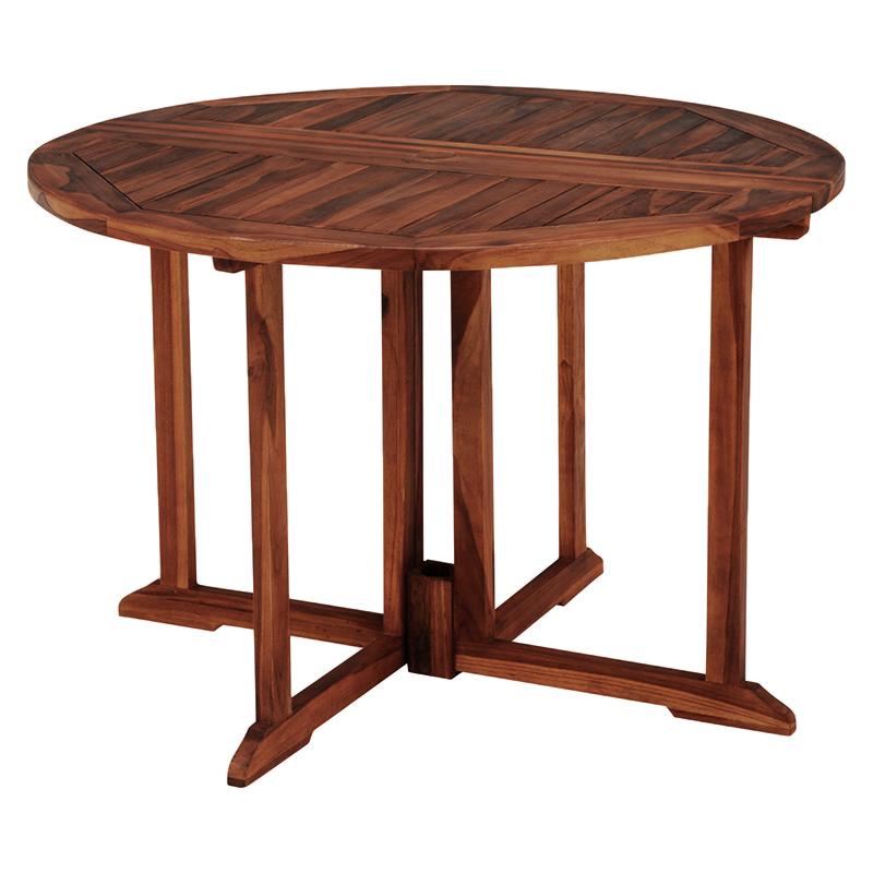 天然木のチーク材を使用した円形テーブル。折りたたみ式なのでシーズンオフの収納にも困りません。天板中央にはパラソルを立てられる穴付。 テーブル 幅110 おしゃれ 送料無料 チークガーデン ガーデンファニチャー テーブル 円形 幅110 奥行110 高さ76cm フォールディングテーブル 木製 折りたたみ おしゃれ RT-1597TK