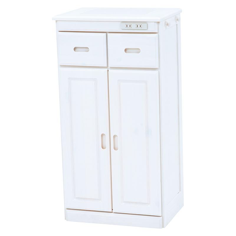 送料無料 キッチンカウンター テーブル 幅47 奥行34 高さ91cm キッチン 収納 キャスター付き コンセント付き 収納棚 キッチンボード 木製 ホワイトウォッシュ MUD-6523WS