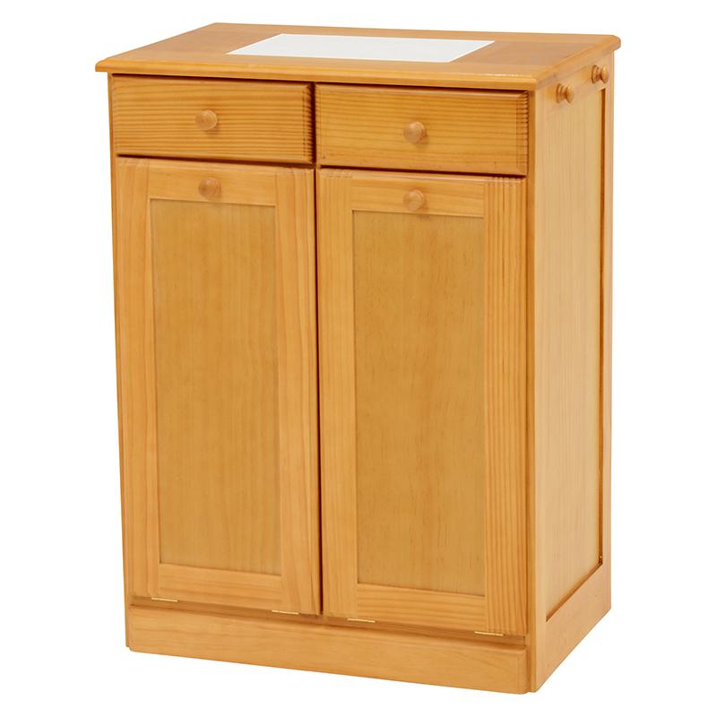 送料無料 ダストボックス 2分別 カウンター キッチン キッチンカウンター 木製 おしゃれ ゴミ箱 ごみ箱 完成品 25Lペール キャスター付き シンプル モダン ナチュラル MUD-6722NA