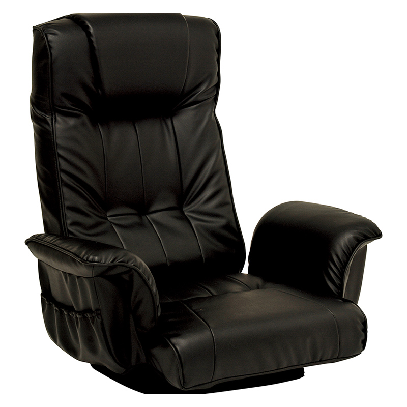 送料無料 2台セット 座椅子 回転 肘掛け 肘付き リクライニング ハイバック イス 椅子 チェアー 回転式 ポケット付き ブラック 黒 おしゃれ LZ-4372BK