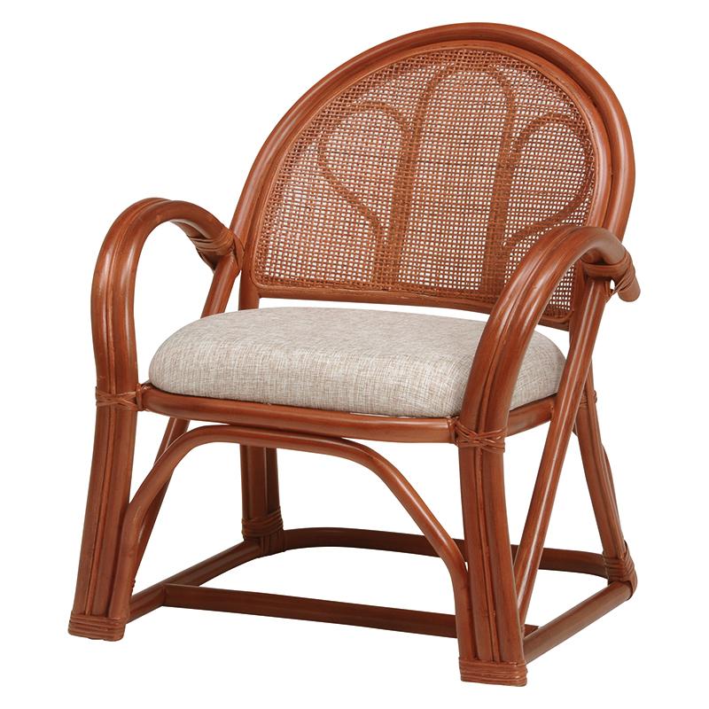 送料無料 2脚組 座椅子 2脚セット 籐楽々座椅子 籐 タラン 肘付き 籐チェアー 1人 おしゃれ 木製 椅子 チェア イス チェアー RZ-672BR
