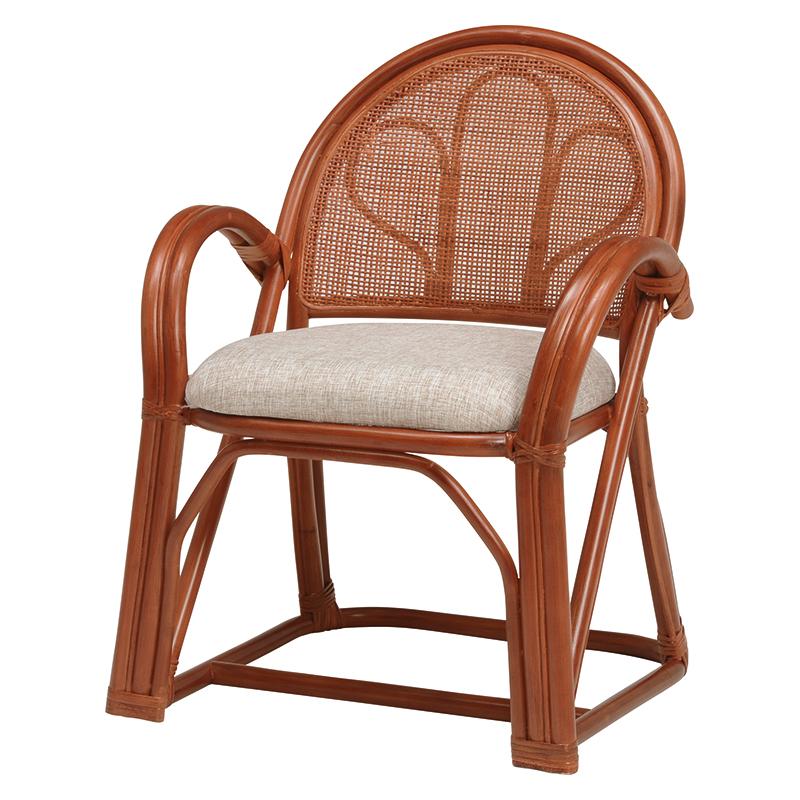 送料無料 2脚組 座椅子 2脚セット 籐楽々座椅子 籐 タラン 肘付き 籐チェアー 1人 おしゃれ 木製 椅子 チェア イス チェアー RZ-673BR