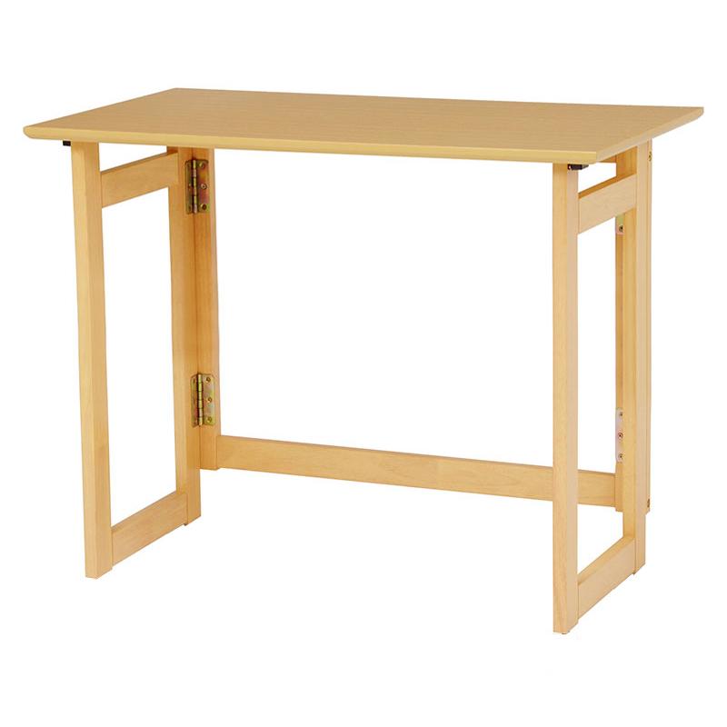 送料無料 折りたたみテーブル 80×40cm テーブル デスク 木製 おりたたみ ナチュラル VT-7811NA