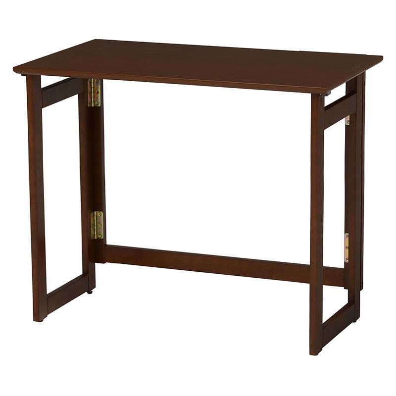 送料無料 折りたたみテーブル 80×40cm テーブル デスク 木製 おりたたみ ダークブラウン VT-7812DBR