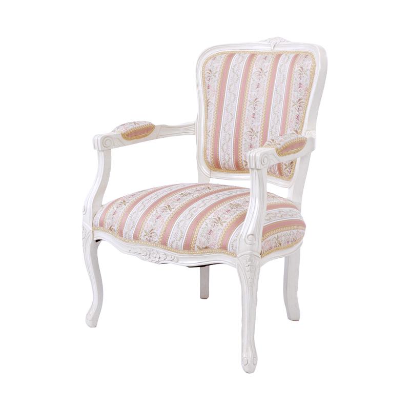 送料無料 チェア アンティーク おしゃれ 猫脚 ダイニングチェアー イス 椅子 肘付き フィオーレ アームチェア エレガント 高級感 ホワイト 白 SA-C-1160-AWH5