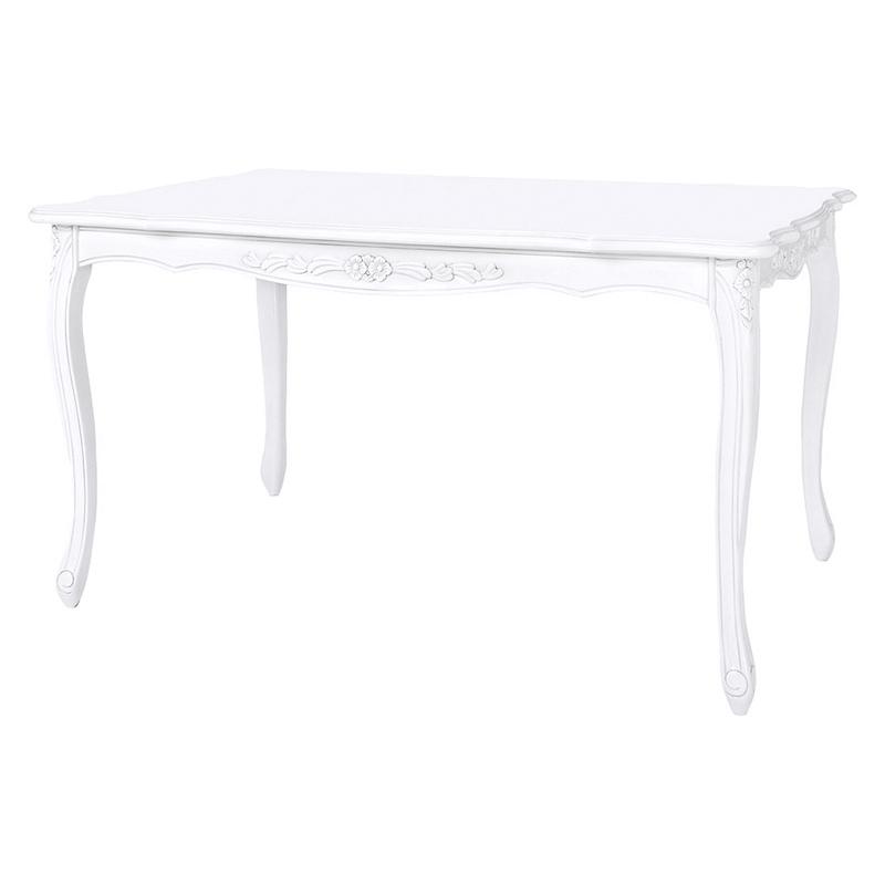 送料無料 ダイニングテーブル 木製 猫脚 幅150 奥行85 高さ72cm フィオーレ 食卓テーブル おしゃれ ホワイト 白 SA-C-1174WH-150