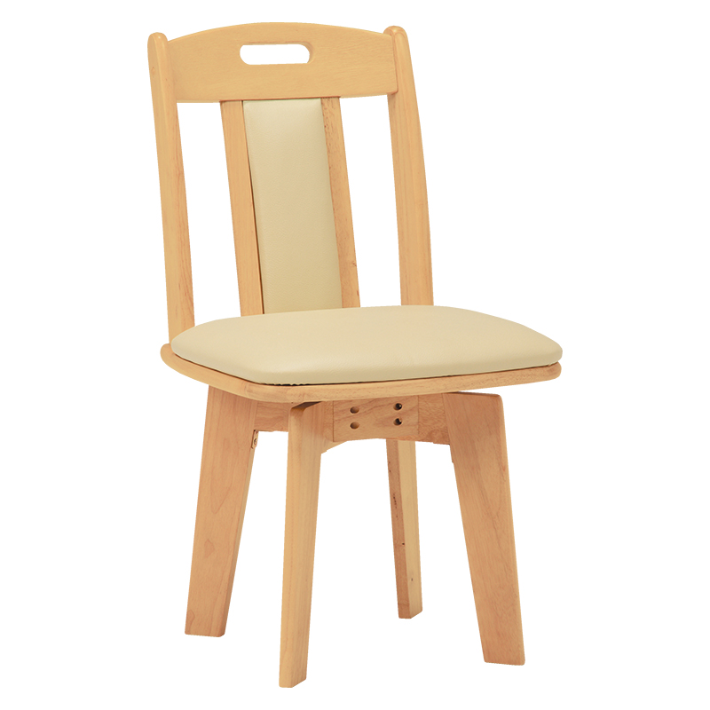 送料無料 ダイニングチェアー【2個セット】 回転 木製 椅子 ナチュラル 食卓椅子 回転ダイニングチェアー いす 2脚セット イス レザー【KC-7581NA】