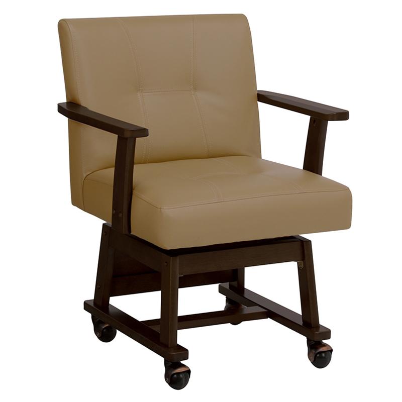 送料無料 ダイニングチェアー 回転 木製 食卓椅子 キャスター付き レザー いす ダークブラウン 回転椅子 回転チェアー イス【KC-7584DBR】