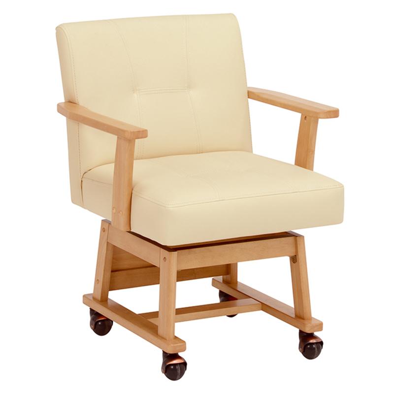 送料無料 ダイニングチェアー 回転 木製 レザー イス いす 回転椅子 食卓椅子 キャスター付き ナチュラル 回転チェアー【KC-7584NA】