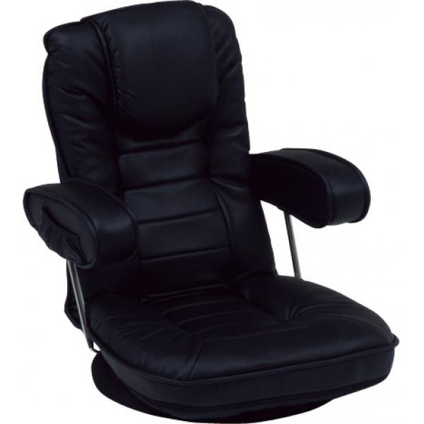 送料無料 リクライニングフロアチェア 回転座椅子 ブラック 洋室 寝室 メンズ 肘掛け チェア リビング 読書やゲーム、映画鑑賞に 360 おしゃれ【LZ-1081BK】
