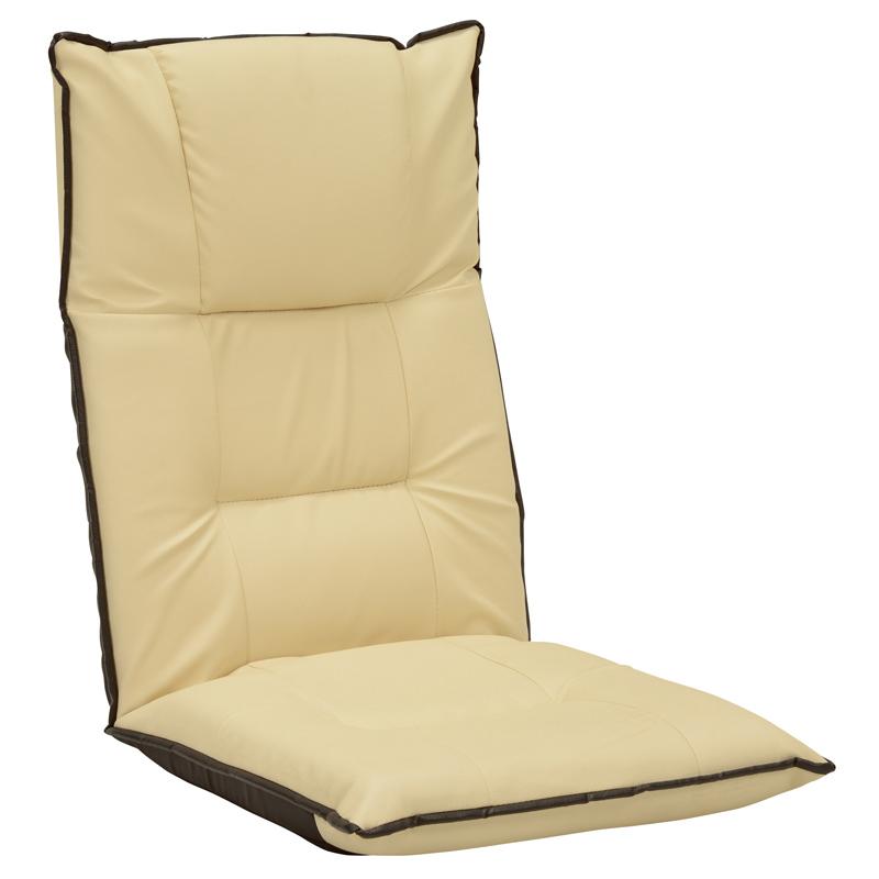 送料無料 レザーリクライニング座椅子【6個セット】 合成皮革 フロアチェア アイボリー チェア【LZ-4280IV】