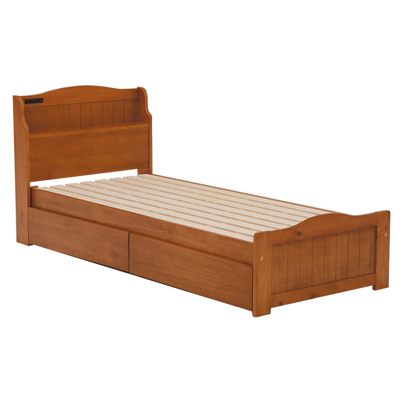 送料無料 引出し付きベッド(セミシングルショート) ローベッド 収納 引き出し収納 シンプル 木製 ブラウン すのこ【MB-5005SS-BR】