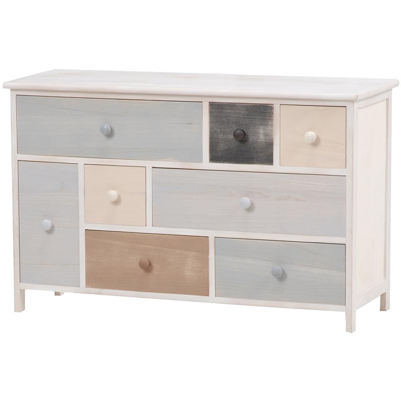 送料無料 カラフルデザインチェスト 木製 アンティークホワイト 棚 スモーキーシリーズ 白 収納家具【MCH-8308AW】