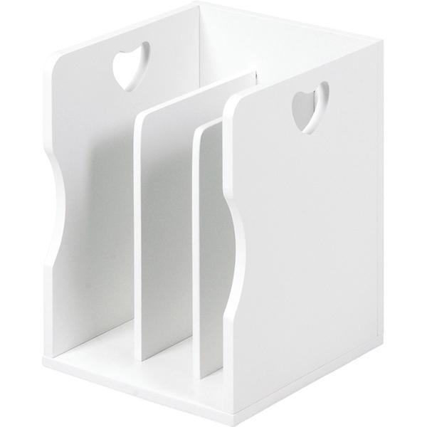 送料無料 ハートデザインブックスタンドブックスタンド【4個セット】 ホワイト 白 本棚 組み合わせ【MM-7205WH】