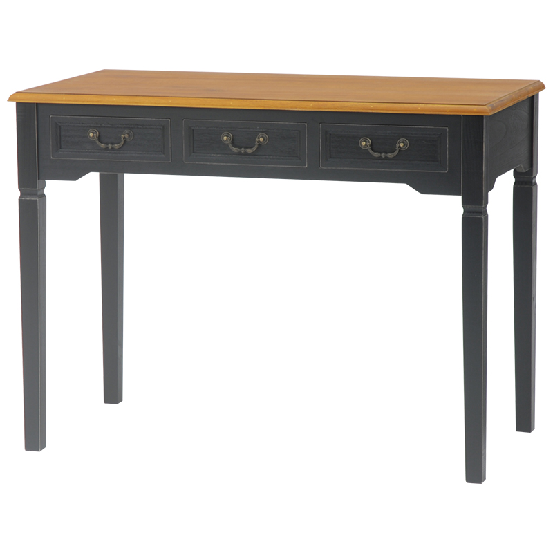 送料無料 アンティーク調デスク レトロ ブラック 黒 ブロカントシリーズ クラシック 机 テーブル【MT-5325BK】