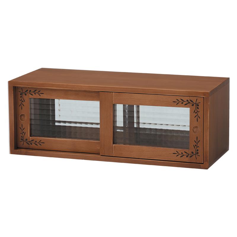 送料無料 カウンター上収納ラック 調味料 茶色 キッチンラック ライトブラウン 木製 棚上 両面ガラス戸 おしゃれ オリーブペイント 幅60cm【MUD-6026LBR】