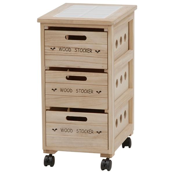 送料無料 ウッドストッカー 3段 ゴミ箱 英字 木製 おしゃれ キャスター付き アメリカ【MUD-6303】