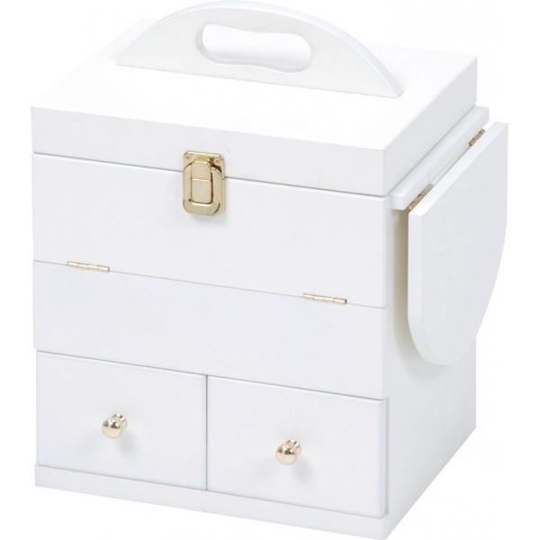 送料無料 コスメボックス おしゃれ 木製 化粧入れ 白 かわいい シンプル ホワイト バニティケース 化粧ボックス メイクボックス【MUD-6930WH】