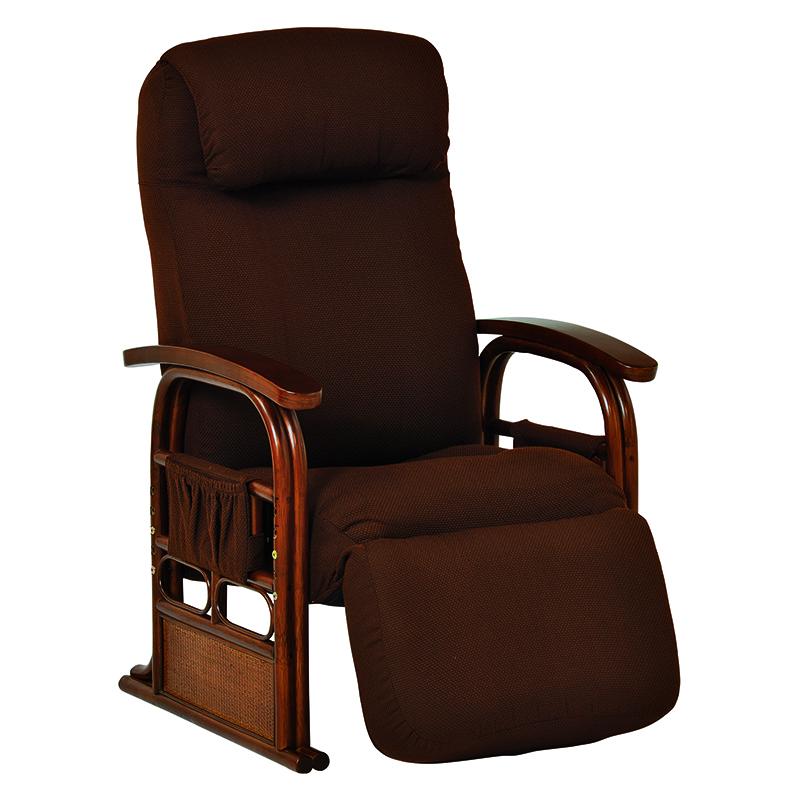 送料無料 座椅子 ギア付き座椅子 いす チェア イス ブラウン 足置き 和室 茶色 リクライニングチェア【RZ-1259BR】