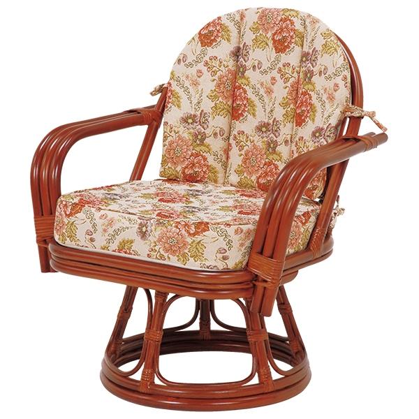送料無料 座椅子 回転座椅子 ブラウン 茶色 肘掛け ラタン チェア 和室 温泉 旅館 いす【RZ-933】