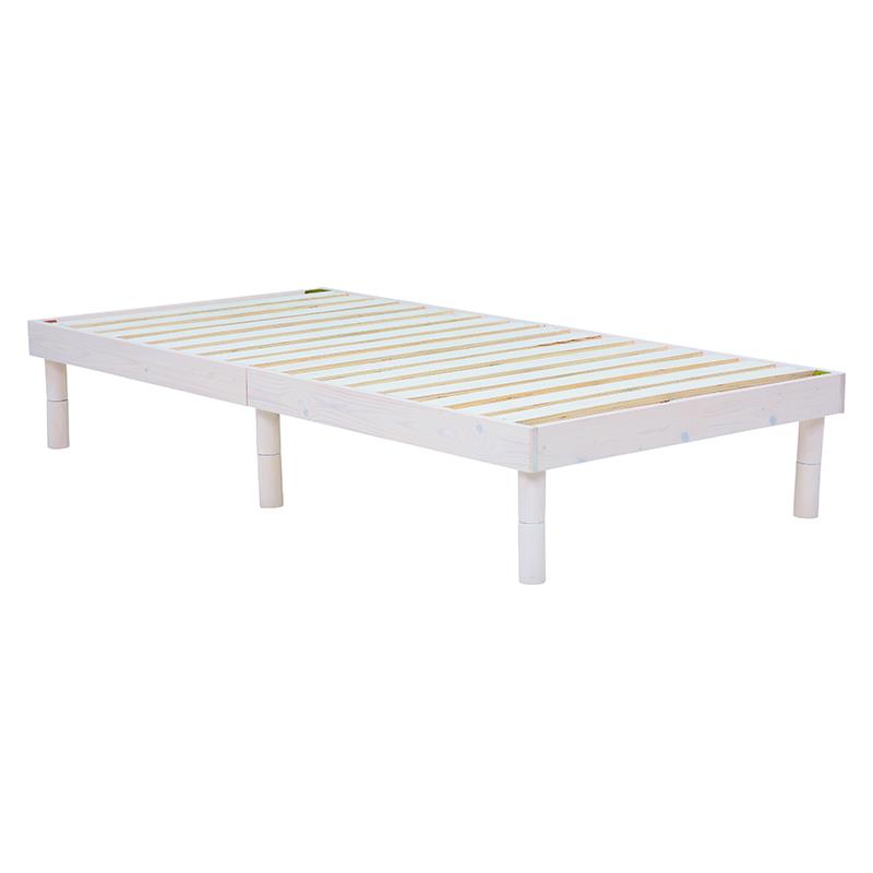 送料無料 ヘッドレスベッド シングル シンプル 木製 ローベッド すのこ フラットベッド ホワイトウォッシュ コンパクト【WB-7700S-WS】