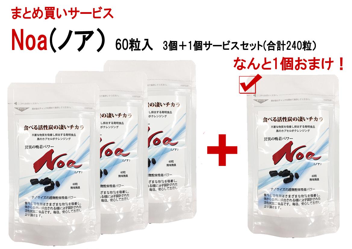 新腸活「食べる活性炭Noa」お買い得価格【3個セットで1個おまけ!】メール便送料無料