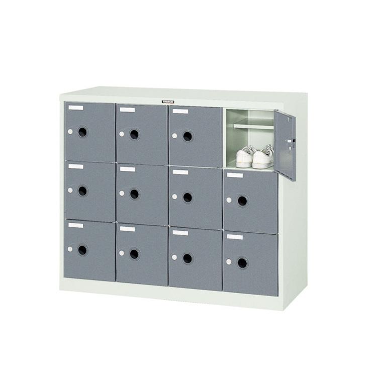 シューズロッカー 扉付 錠なしタイプ 中棚付 スチール製 4列3段 12人用 ニューグレー SC-12WP 完成品 鍵無 新品 ALPS W1050×D380×H880
