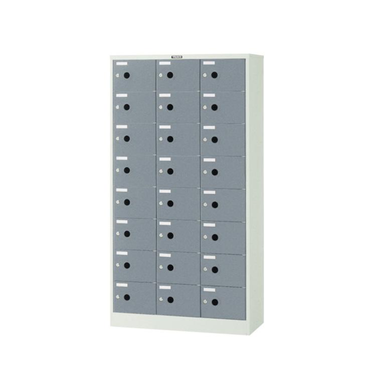シューズロッカー 扉付 錠なしタイプ 中棚付 スチール製 3列8段 24人用 ニューグレー SC-24P 完成品 鍵無 新品 ALPS W900×D380×H1700