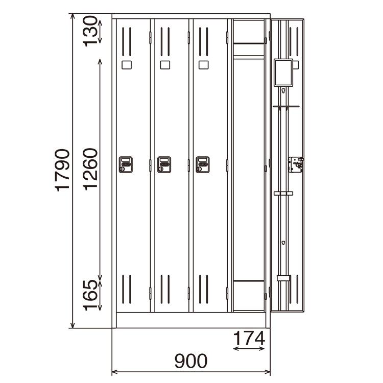 多人数ロッカー 4人用 KL47 ダイヤル錠 完成品 鍵付 新品 ニューグレー アルプススチール W900×D515×H1790