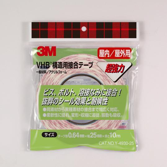 Y-4930 3M 国内正規総代理店アイテム VHB 1巻入 セール商品 構造用接合テープ 19mm×10m