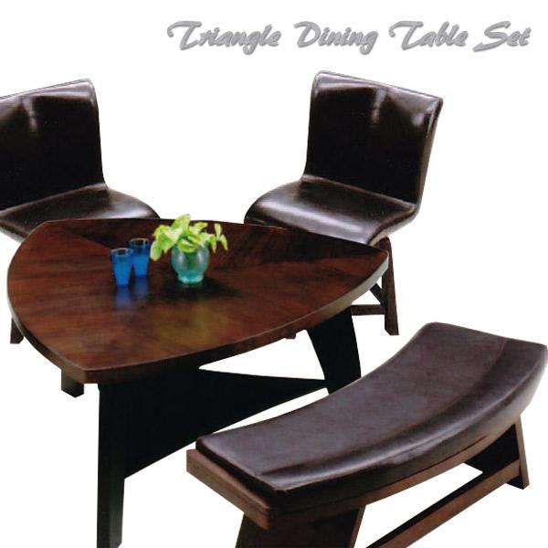 ダイニングセット 4点 ダイニングテーブルセット ダイニングチェア 回転 おしゃれ ダイニング 三角テーブル ダイニングチェア 木製 食卓テーブル セット ダイニングテーブル 4点セット ベンチチェア ベンチタイプ 送料無料
