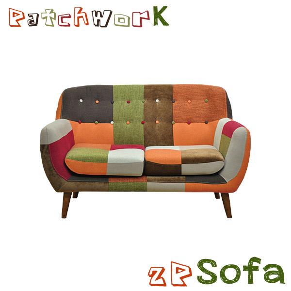 ソファ 2P ソファー パッチワークソファ そふぁ 2人掛けソファ ファブリック カラフル リビングソファ リビング 可愛い フロアソファ 脚付き シンプル レトロ 北欧 おしゃれ カフェ 2人掛け sofa 送料無料  2人用
