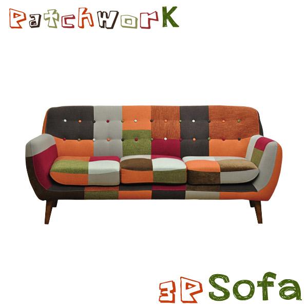 ソファ 3P ソファー パッチワークソファ そふぁ 3人掛けソファ ファブリック カラフル リビングソファ リビング 可愛い フロアソファ 脚付き シンプル レトロ 北欧 おしゃれ カフェ 3人掛け sofa 送料無料  3人用