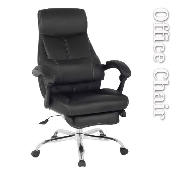 オフィスチェア ハイバック フットレスト クッション 回転 回転式 リクライニング 170度 ソフトレザー ブラック パーソナルチェア クッション付き 足置き フットレスト付き 高機能 アームレスト パソコンチェア 書斎 椅子 イス  送料無料