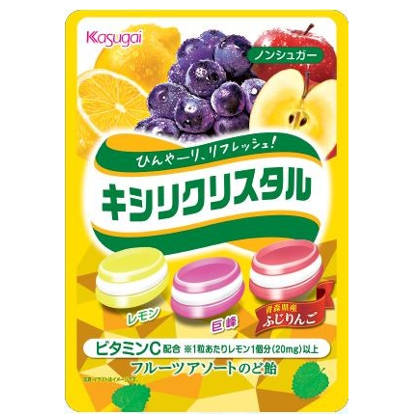 春日井 キシリクリスタル フルーツアソートのど飴 67g 72コ入り 2018/09/03発売 (4901326130197c)