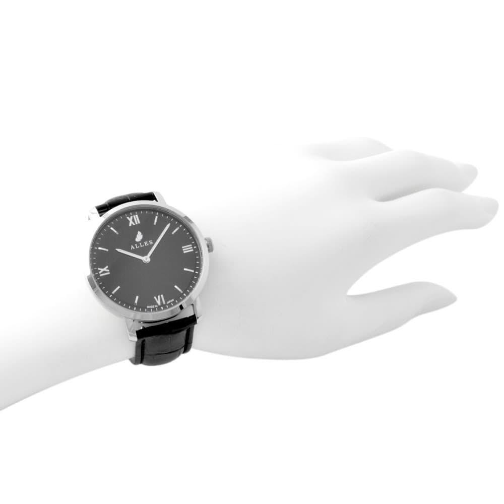 アレス 腕時計 メンズ ALLES wbe19a001 【工具不要で取付簡単!】 腕時計用ベルト クロコ型押し ブラック 19mm レバーピン 時計バンド 革バンド ベルトのみ