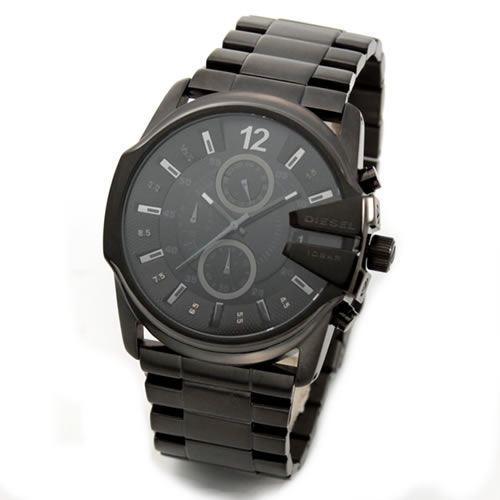 ディーゼル 腕時計 メンズ DIESEL クールな3Dインデックス メンズ・オールブラック・クロノグラフ・ブレスウオッチ DZ4180