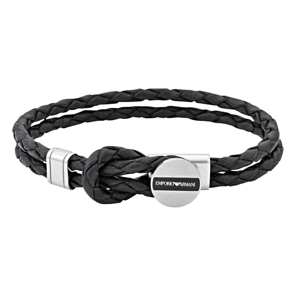 EMPORIO 買取 ARMANI メンズ ブレスレット 編み込みレザー エンポリオアルマーニ イーグルロゴ 半額 EGS2178040