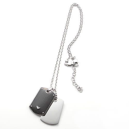 エンポリオアルマーニ ネックレス ペンダント EMPORIO ARMANI アクセサリー ダブルタグ シルバー×ブラック EGS1601040