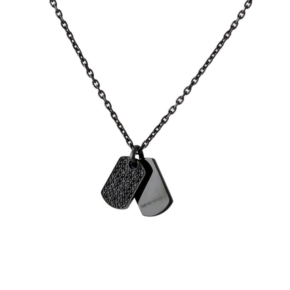 エンポリオアルマーニ ネックレス ペンダント メンズ EMPORIO ARMANI ダブルプレートタグ ブラッククリスタル EGS2515001