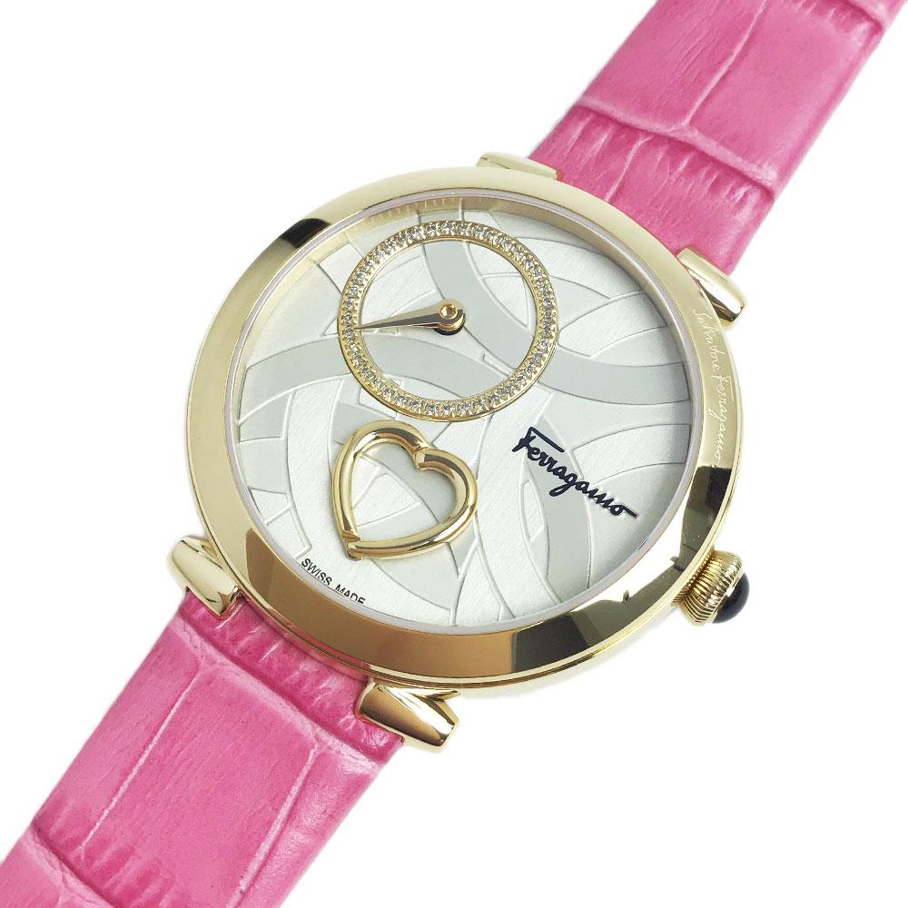 サルバトーレフェラガモ 腕時計 レディース CUORE ゴールド/ピンク レザーベルト